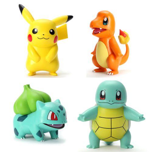 Kit 4 Miniaturas Pikachu + Squirtle + Charmander + Bulbassauro Pokemon Takara Tomy