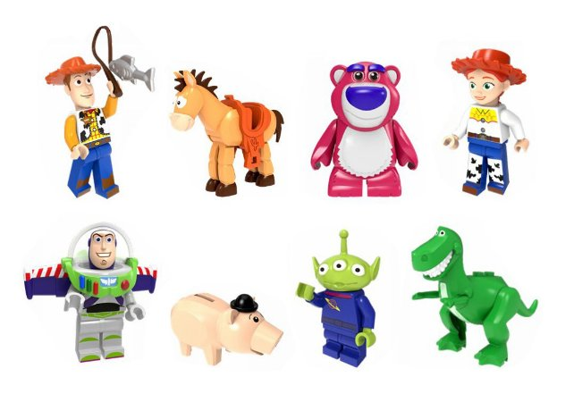 Kit 8 Bonecos Toy Story Bloco de Montar