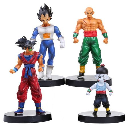 Kit 4 Miniaturas Dragon Ball Z Goku Vegeta Shinhan Chiaotzu