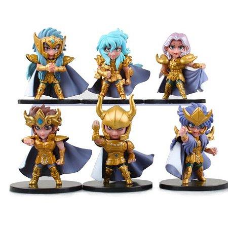 Kit 6 Miniaturas Cavaleiros do Zodíaco Armadura de Ouro