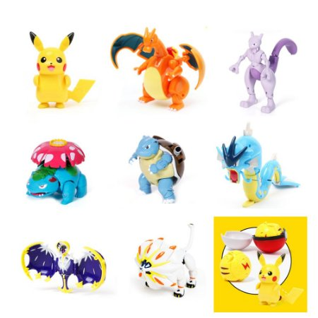 Kit 8 Pokemons Articulados Com Pokebola Takara Tomy