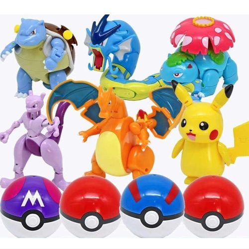 Kit 6 Pokemons Articulados Com Pokebola Takara Tomy