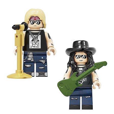Kit 2 Bonecos Guns N Roses Axl Rose e Slash Rock Blocos de Montar Compativel