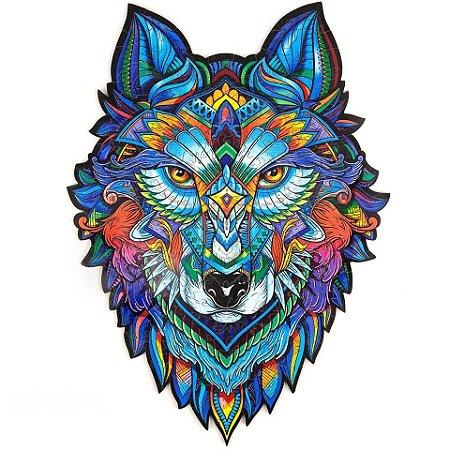 Quebra Cabeça de Madeira Irregular Lobo A4
