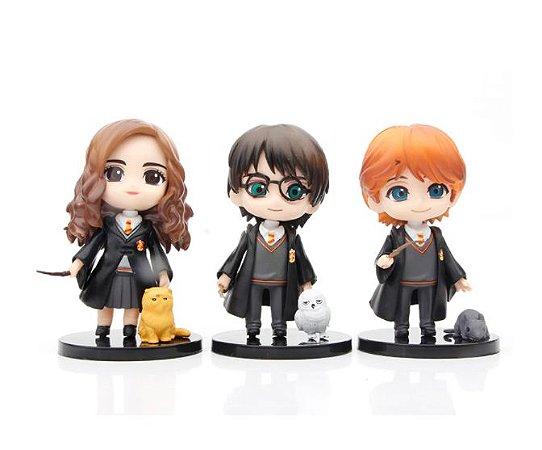 Kit 3 Action Figures Qposket Harry Potter Hermione Ron