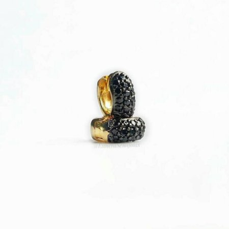 Brinco Semijoia Ouro 18k Argola Zirconia Negra