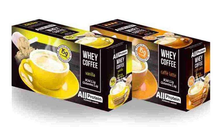 Whey Coffee 1 caixa de vanilla e 1 caixa de caffè latte - All Protein (50 doses) - 1250g