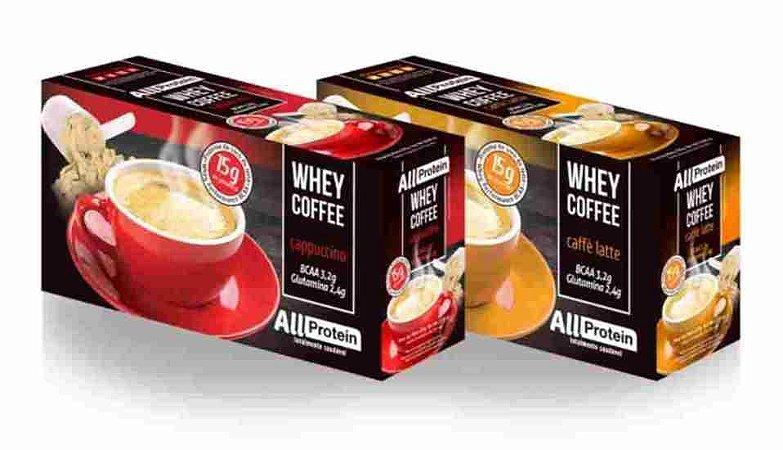 Whey Coffe - Café proteico 1 cappuccino e 1 caffè latte 15g de proteina de whey protein com BCAA e Glutamina - All Protein 25 unidades de 25g - 625g