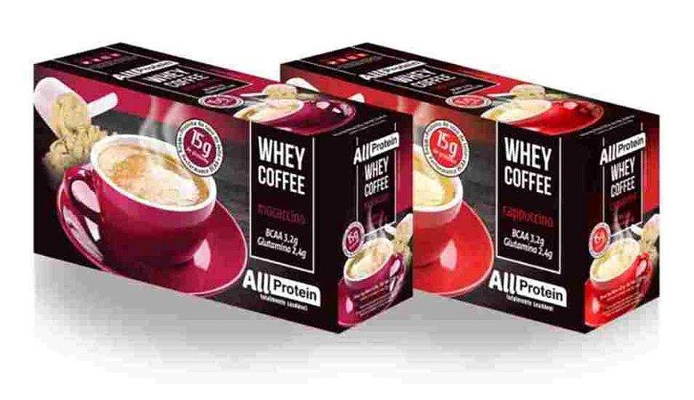 Whey Coffe - Café proteico 1 mocaccino e 1 cappuccino 15g de proteina de whey protein com BCAA e Glutamina - All Protein 25 unidades de 25g - 625g