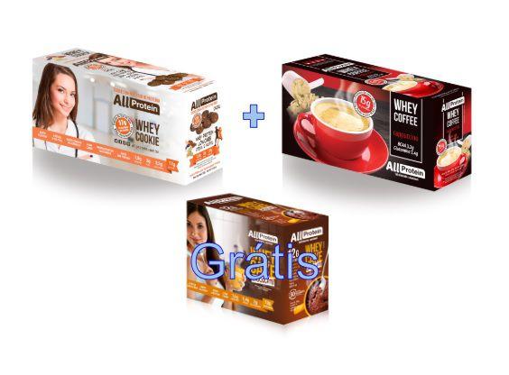COMBO - 1 caixa de Whey Coffee CAPPUCCINO 625g + 1 Caixa de Whey Cookie de CACAU 320g - GRÁTIS Caixa whey cake CHOCOLATE 360g