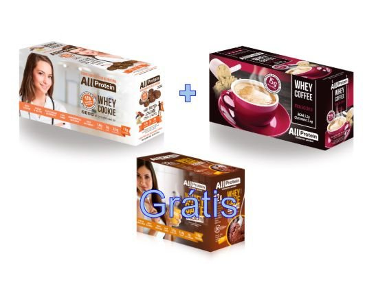 COMBO - 1 caixa de Whey Coffee MOCACCINO 625g + 1 Caixa de Whey Cookie de CACAU 320g - GRÁTIS Caixa whey cake CHOCOLATE 360g