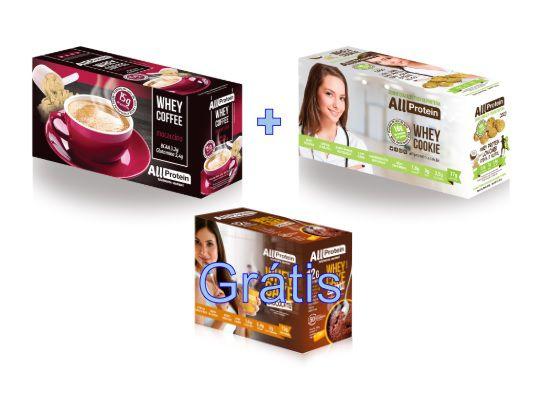 KIT - 1 caixa de Whey Coffee MOCACCINO 625g + 1 Caixa de Whey Cookie de COCO 320g - GRÁTIS Caixa whey cake CHOCOLATE 360g