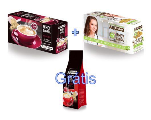 COMBO - 1 caixa de Whey Coffee MOCACCINO 625g + 1 Caixa de Whey Cookie de COCO 320g - GRÁTIS Pacote whey coffee CAPPUCCINO 300g