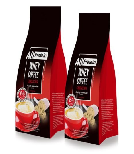 2 Pacotes de Whey Coffee Cappuccino 600g (24 doses) - All Protein