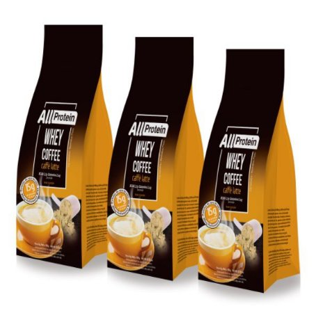 3 Pacotes de Whey Coffee - Café proteico CAFÉ LATTE com whey protein - All Protein - 36 doses - 900g