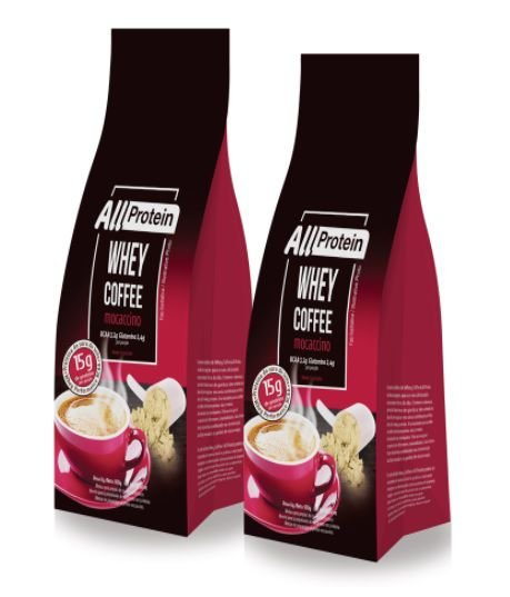 2 Pacotes de Whey Coffee Mocaccino 600g (24 doses) - All Protein