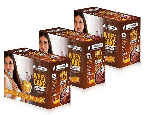 3 Caixas Whey Cake de Chocolate All Protein - 36 Saches de 30g - 1080g