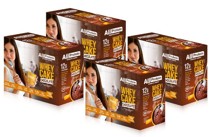 4 Caixas de Whey Cake de Chocolate All Protein - 48 Saches de 30g - 1440g