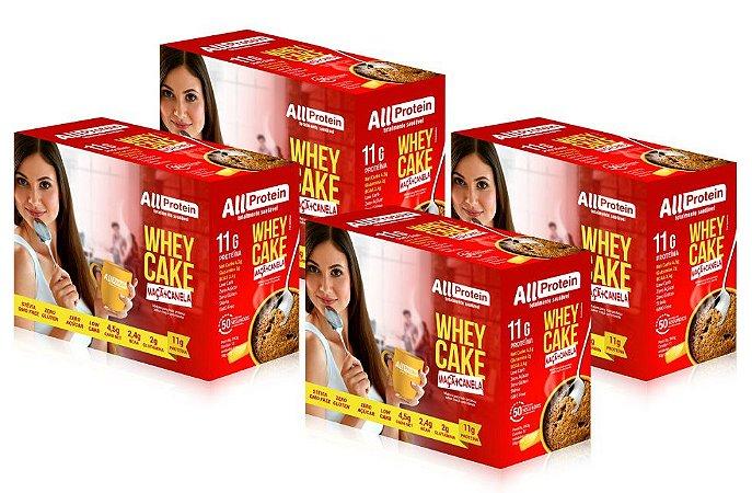 4 Caixas de Whey Cake de Maçã com Caneca All Protein - 48 Saches de 30g - 1440g