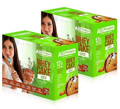 2 Caixas Whey CAKE de COCO com whey protein - All Protein - 24 Saches de 30g - 720g