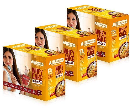3 Caixas Whey Cake de Amendoim All Protein - 36 Saches de 30g - 1080g