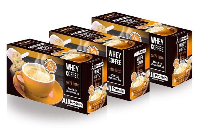 3 Caixas de Whey Coffee Café proteico Caffè Latte 1875g (75 doses) - All Protein