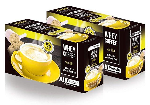 2 Caixas de Whey Coffee Café proteico Vanilla 1250g (50 doses) - All Protein