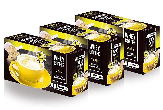 3 Caixas de Whey Coffee - Café proteico VANILLA com whey protein - All Protein - 75 doses - 1875g
