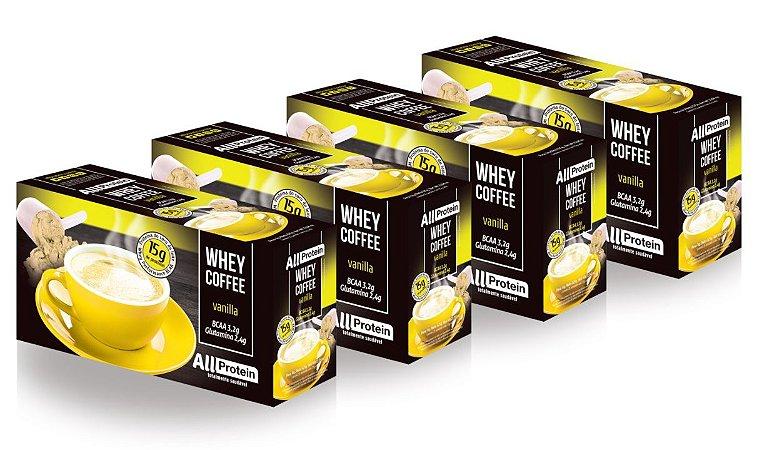 4 Caixas de Whey Coffee - Café proteico Vanilla 2500g (100 doses) - All Protein