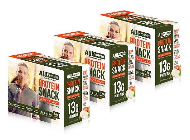 3 Caixas de Snack Protein Cebola e Salsa All Protein 21 unidades de 30g - 630g