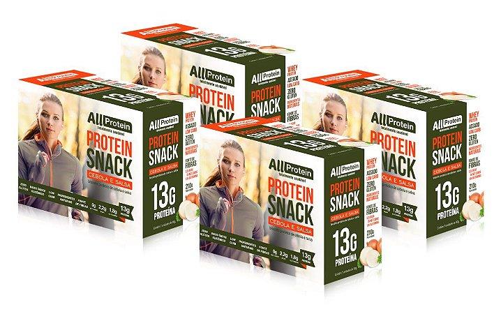 4 Caixas de Protein Snack Cebola e Salsa All Protein 28 unidades de 30g - 840g