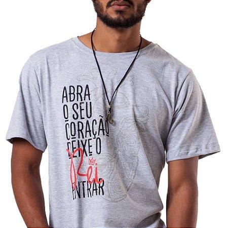 Camiseta masculina Abra o seu Coração
