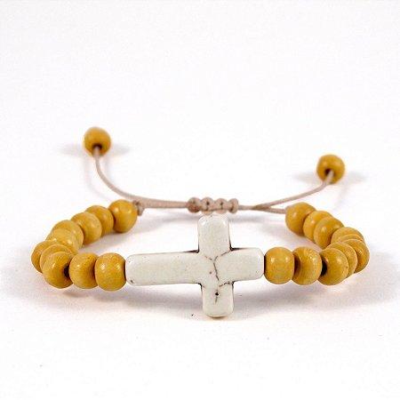 Pulseira cruz real - madeira