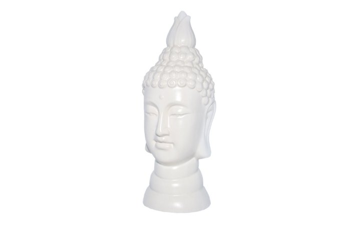 Escultura Decorativa Cerâmica BrancaBudha