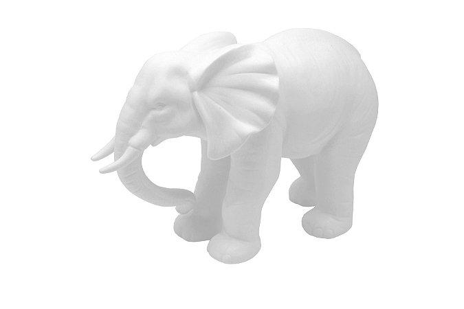 Escultura Decorativa Branca Elefante