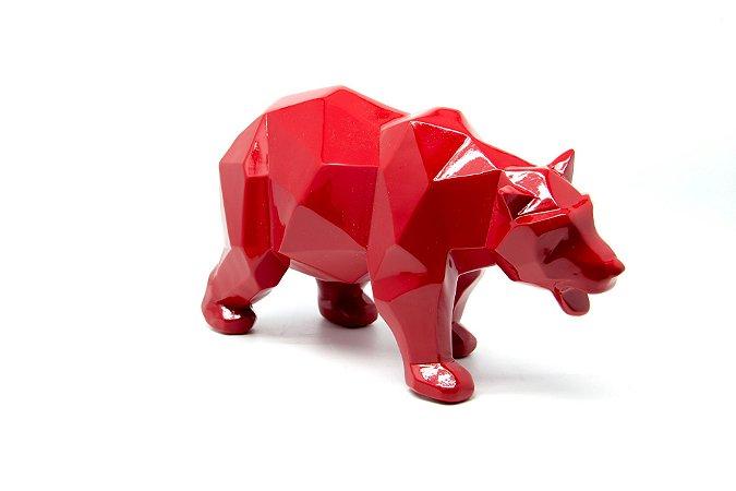 Escultura Decorativa Vermelha Urso Geométrico