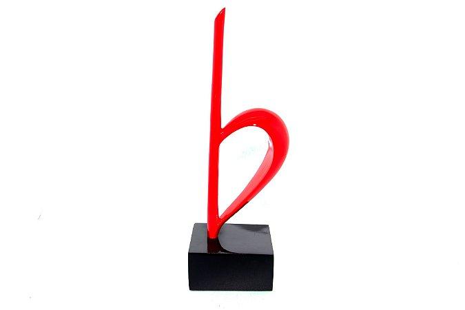 Escultura Decorativa Vermelha Caule