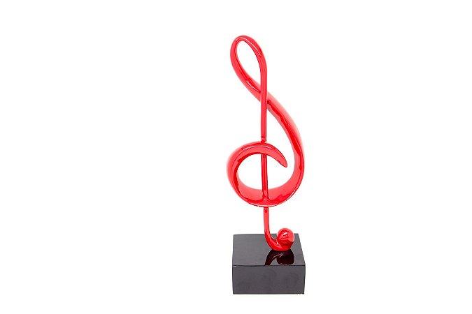 Escultura Decorativa Vermelha Nota Musical Clave