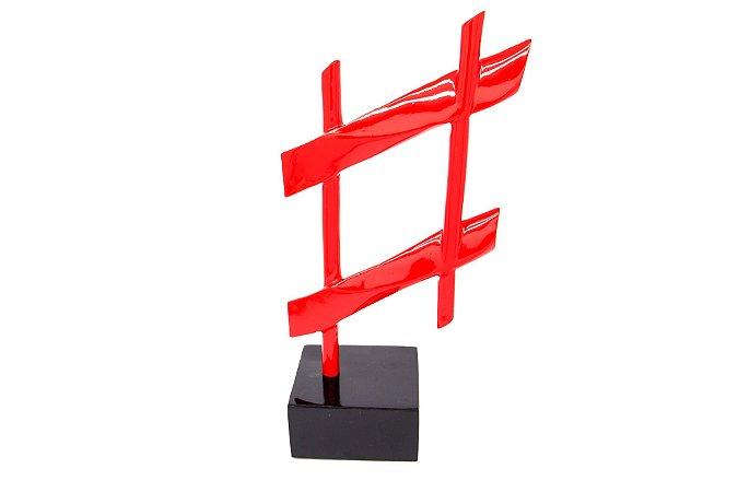Escultura Decorativa Vermelha Hashtag