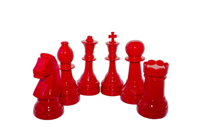 Escultura Decorativa Vermelha Conjunto Xadrez