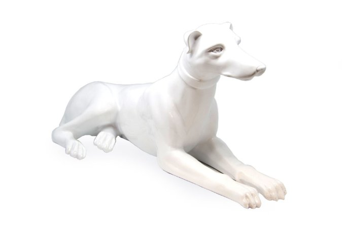 Escultura Decorativa Branca Cachorro