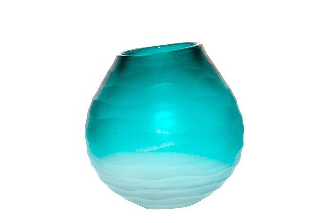Vaso Decorativo Verde e Branco Ondas Redondo
