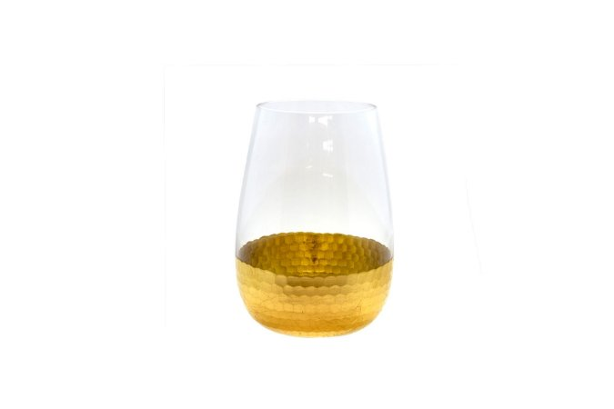 Vaso Decorativo Dourado Escamas Grande