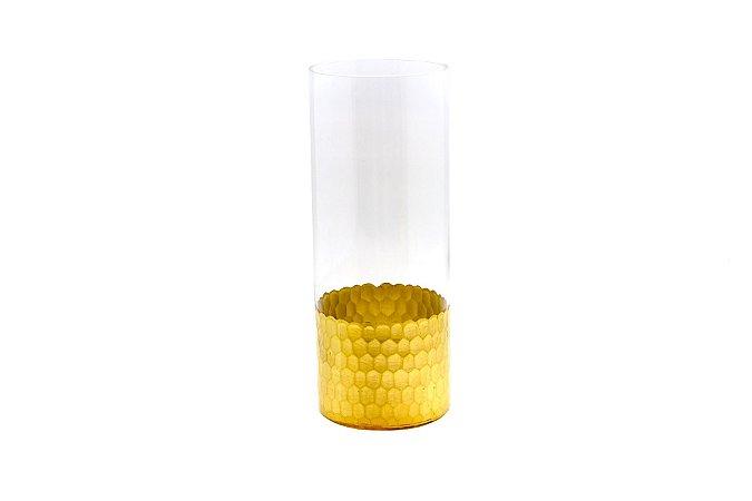 Vaso Decorativo Dourado Escamas