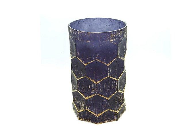 Vaso Decorativo Colmeia  Azul Com Dourado