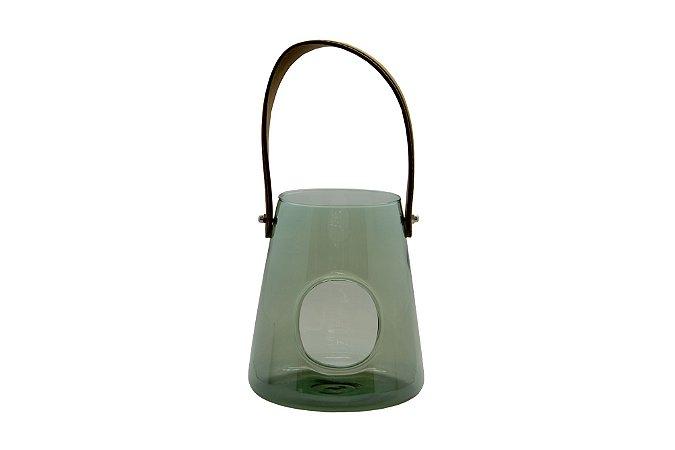 Vaso Decorativo Verde com Alça de Couro