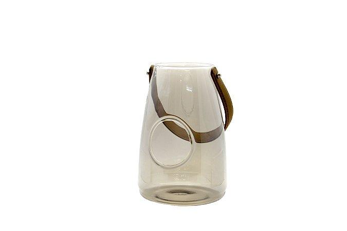 Vaso Decorativo Cinza com Alça de Couro