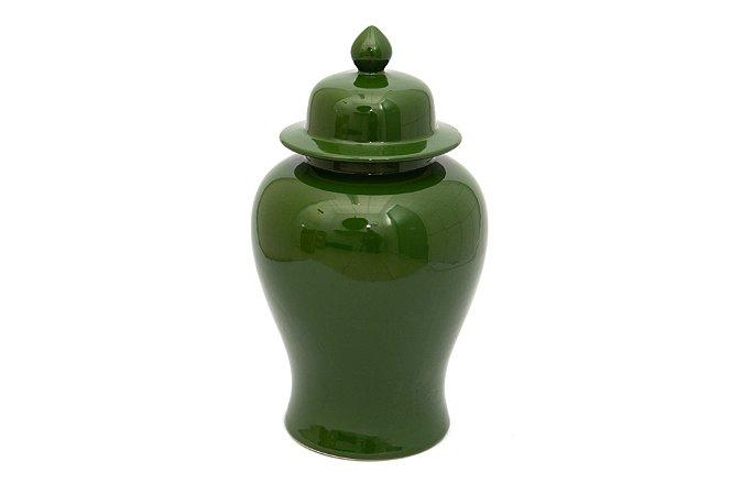 Pote Decorativo com tampa Verde Grande