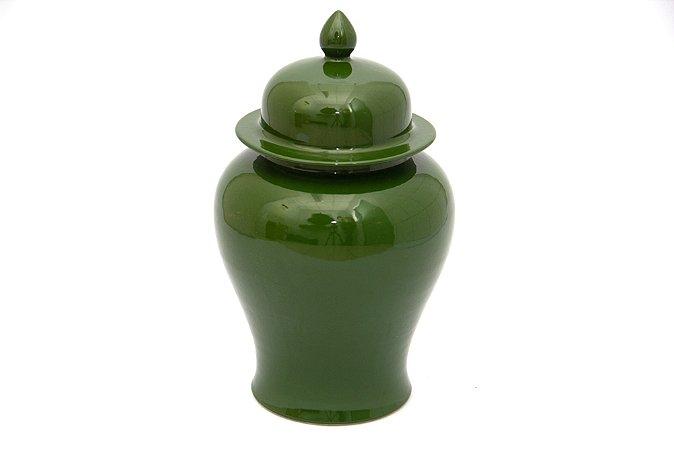 Pote Decorativo com tampa Verde Pequeno