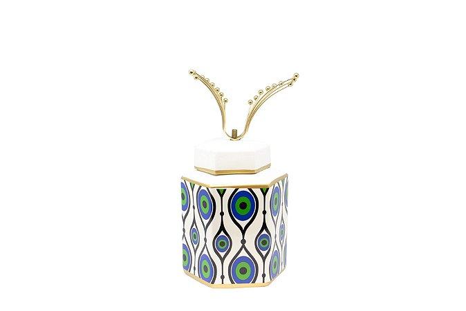 Pote Decorativo Verde e Dourado Pavão Pequeno